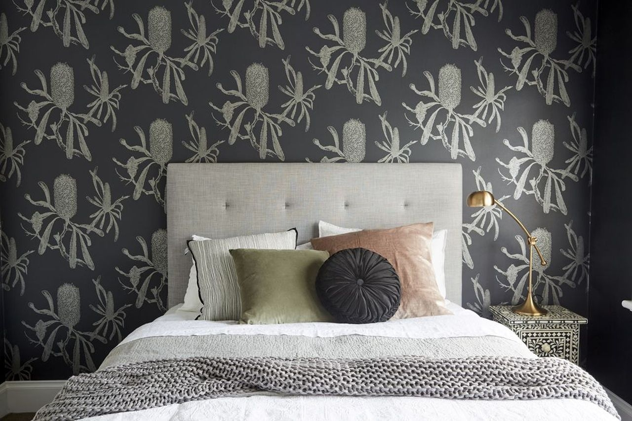 Sarah And Jasons Stunning Australian Native Wallpaper In Their Guest Bedroom